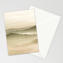 Pastel Blue Green Sepia Sunset Mountains layered parallax Landscape Minimalist Landscape Stationery Cards