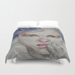 The girl in blue, mixed media drawing Duvet Cover