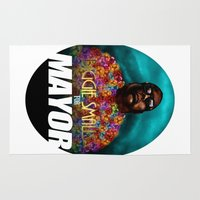 biggie smalls Area & Throw Rugs featuring Biggie Smalls for Mayor by Tom Brodie-Browne
