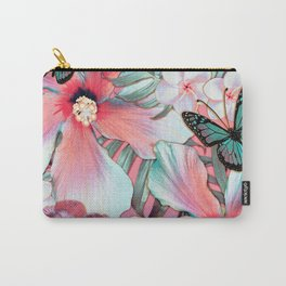 Peachy Mint Hibiscus Tropical Carry-All Pouch