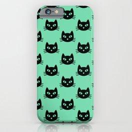 kittyhead (black on mint) iPhone Case