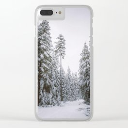 Hiking On A Snowy Trail Clear iPhone Case