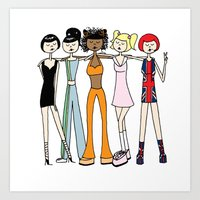 spice girls Art Prints featuring The Spice Girls by flapper doodle