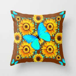 BROWN KANSAS SUNFLOWERS TURQUOISE BUTTERFLIES Throw Pillow
