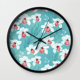 Orchid garden in peach on turquoise green Wall Clock