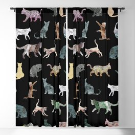 Cats shaped Marble - Black Blackout Curtain