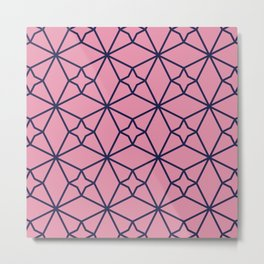 Pink Clay Moroccan Geometric Pattern Metal Print