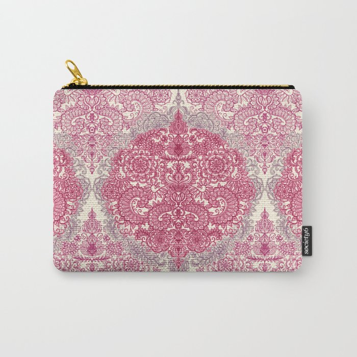 Happy Place Doodle in Berry Pink, Cream & Mauve Carry-All Pouch