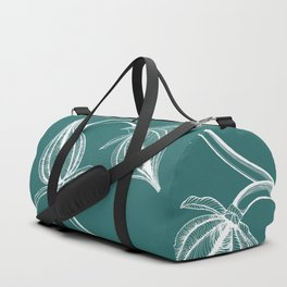 Buds of White on Teal Duffle Bag