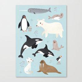 Nursery Arctic Animals POSTER Canvas Print
