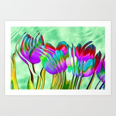 Tulips behind wavy glass Art Print