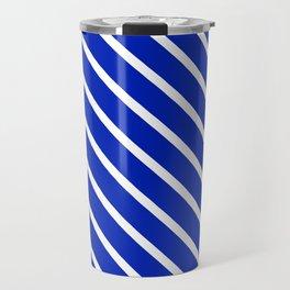 Sapphire Diagonal Stripes Travel Mug