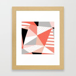 Just Peachy Stripes: Retro 80s Triangle Pattern And Neon Pop Art 1980s Style Framed Art Print