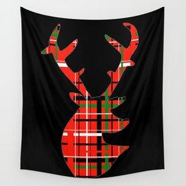 Plaid Xmas Deer Wall Tapestry