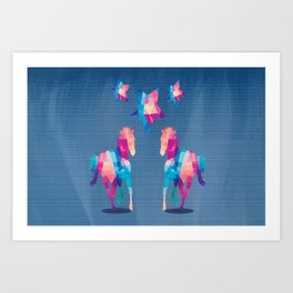 Geometric Horses - Blue Art Print