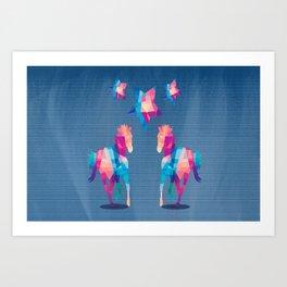 Geometric Horses - Blue Art Print