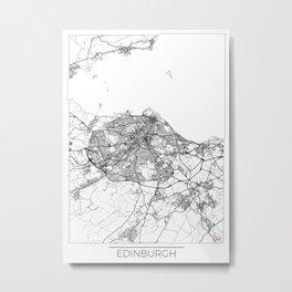 Edinburgh Map White Metal Print