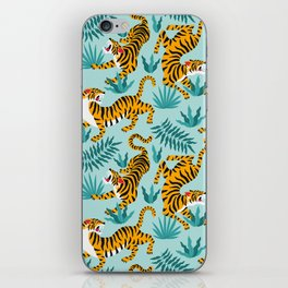 Asian tigers and tropic plants on background. iPhone Skin