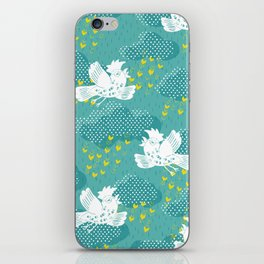 Rain Birds - Teal iPhone Skin