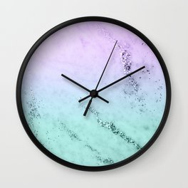 Unicorn Mermaid Girls Glitter Marble #1 #decor #art #society6 Wall Clock