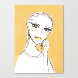 A girl with the foil earrings Canvas Print