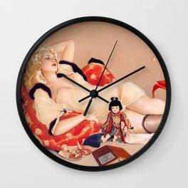Fleurs du Mal; Woman in Love blond siren portrait painting by Alberto Vargas  Wall Clock