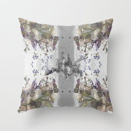 Halftone X-ray Floral Throw Pillow