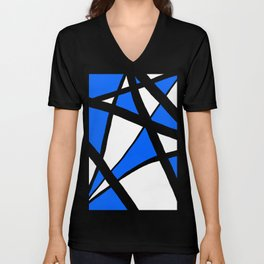 China Blue Geometric Triangle Abstract Unisex V-Neck