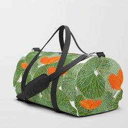 Orange Poppy Flowers Green Large Leaf #decor #society6 #buyart Duffle Bag