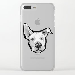 RESCUE ME Pit Bull Pitbull Dog Pop Art black and White Painting by LEA Clear iPhone Case