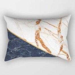 Classy Elegant White Blue Gold Marble Rectangular Pillow