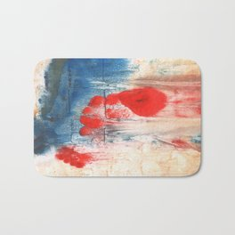 Red Blue watercolor Bath Mat
