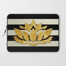 Horizontal Stripes & Gold Metallic Lotus Flower Laptop Sleeve