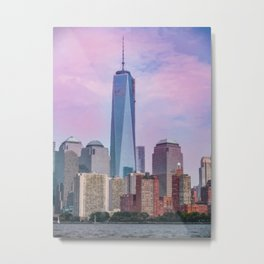 Painting of a very Dramatic Sunset over the NYC Financial District, seen from the Water Metal Print