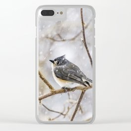 Snowy Titmouse Clear iPhone Case