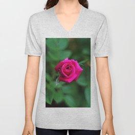 Tiny Pink Rose Unisex V-Neck