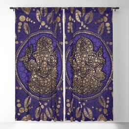 Lord Ganesha Dot Art Purples and Gold Blackout Curtain