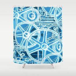 Geared Up ( Big Blue) Shower Curtain