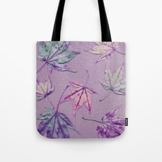 Japanese maple leaves - cerise and pistachio green on light purple Tote Bag