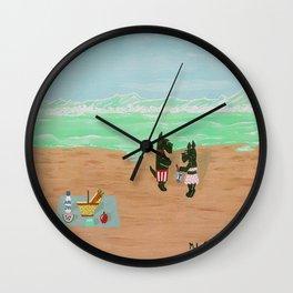 Seaside Scotties-Scottish Terriers Wall Clock