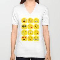 emoji V-neck T-shirts featuring Emoji-Minifigure by Raddington Falls
