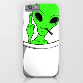 Alien in a pocket smoking weed / blunt iPhone Case