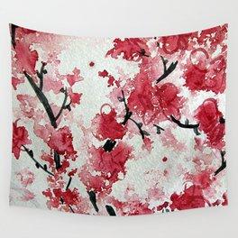 Watercolor Sakura Blossoms Wall Tapestry