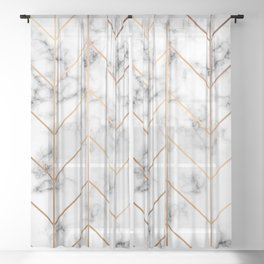 Marble Geometry 057 Sheer Curtain