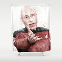 picard Shower Curtains featuring Annoyed Picard Meme  by Olechka