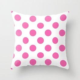 Geometric Candy Dot Circles - Strawberry Pink on White Throw Pillow