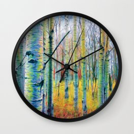Aspen Trees in the Fall Wall Clock