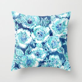 HIBISCUS BOUNTY Blue Tropical Watercolor Throw Pillow