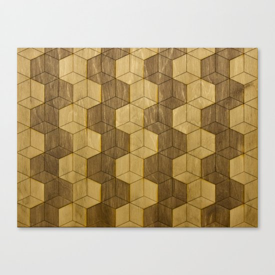 Wooden Zig Zag Optical Cubes Canvas Print