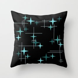 Mid Century Modern Stars Black Teal Throw Pillow